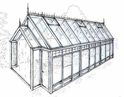 Drawing of a gable conservatory