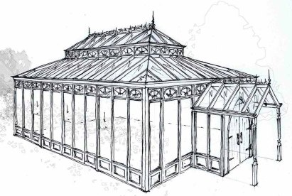Drawing of a lantern conservatory